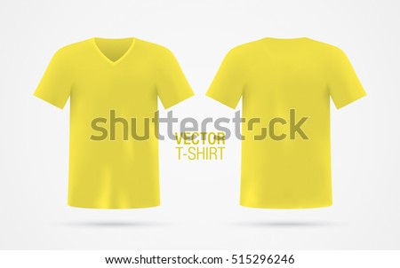 Yellow Vector V Neck T Shirt Template Mens Short Sleeve