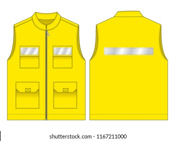 Yellow Vest for Template  : Front & Back View