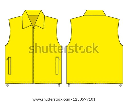 yellow vest template front back view stock vector royalty free