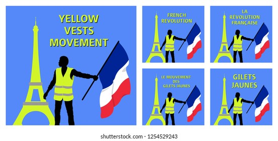 Yellow vests movement graphics with Eiffel Tower and French flag. All the objects are in different layers and the text types do not need any font.