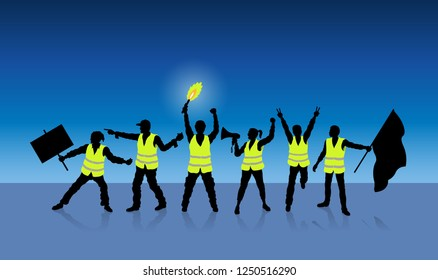 Yellow vests protest in Paris France in front of midnight blue. All the objects, shadows and background are in different layers.