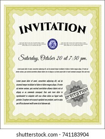 Yellow Vintage invitation. With guilloche pattern. Vector illustration. Money design.