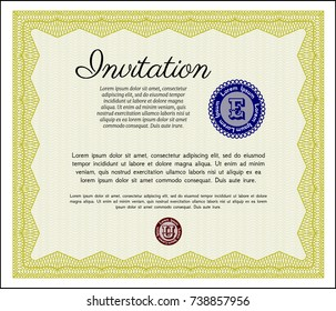Yellow Vintage invitation template. Cordial design. With complex linear background. Detailed.
