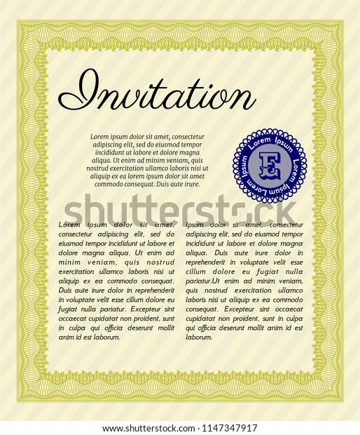 Yellow Vintage invitation template. Money Pattern design. Complex background. Detailed.