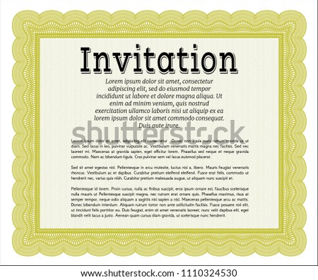 Yellow Vintage Invitation Template Perfect Design Stock Vector