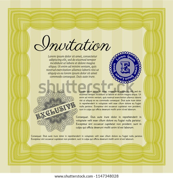 Yellow Vintage invitation template. Vector illustration. With complex background. Excellent design.