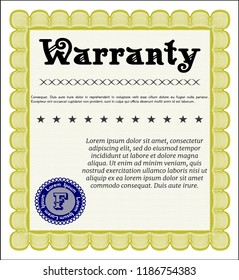 Yellow Vintage Warranty Certificate template. Artistry design. Customizable, Easy to edit and change colors. With linear background.
