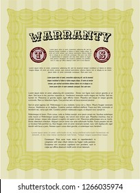Yellow Vintage Warranty Certificate template. Artistry design. Customizable, Easy to edit and change colors. With complex linear background.