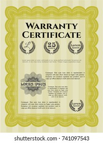 Yellow Vintage Warranty template. Good design. With guilloche pattern. Vector illustration.