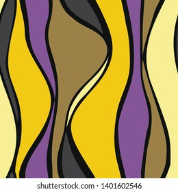 Yellow and violet waves seamless pattern. Vector illustration of yellow and violet waves