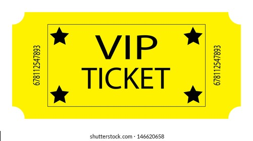 Yellow VIP Ticket. Vector