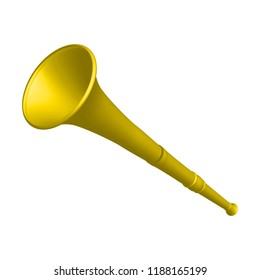 Yellow vuvuzela trumpet football fan. Vuvuzela isolated on a white background. Vector illustration