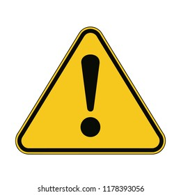 Yellow Warning Dangerous attention icon icon, danger symbol, filled flat sign, solid pictogram, isolated on white. Exclamation mark triangle symbol, logo. Attracting attention. Security First sign.