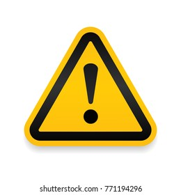 Yellow Warning Dangerous attention icon icon, danger symbol, filled flat sign, solid pictogram, isolated on white. Exclamation mark triangle symbol, logo. Attracting attentionSecurity First sign.