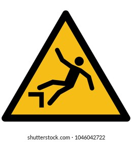 Yellow warning drop, fall sign label, sticker vector