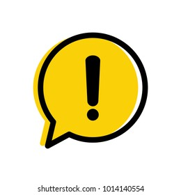 Yellow warning mark. Danger warning attention sign in a speech bubble vector