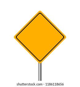 Yellow warning road sign