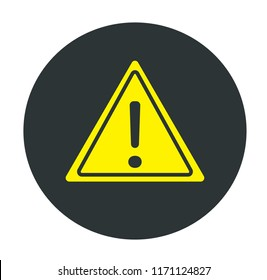 Yellow Warning Sing on Black Circle. Concept of security and  attention