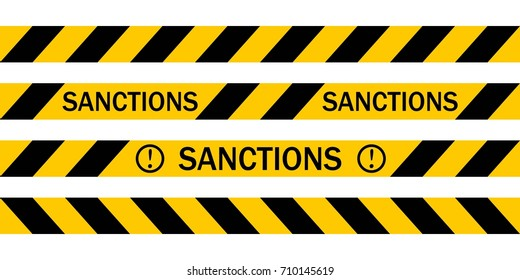 Yellow warning tape with the inscription SANCTIONS, Vector warning tapes about the introduction of sanctions