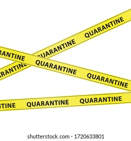 "Yellow warning tape strips with the text ""QUARANTINE"", caution concept, isolated on white background, transparent vector"