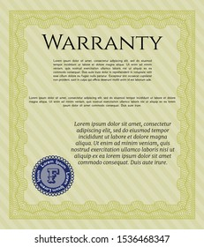 Yellow Warranty. With linear background. Good design. Vector illustration.