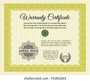 Yellow Warranty template. Customizable, Easy to edit and change colors. With background. Elegant design.