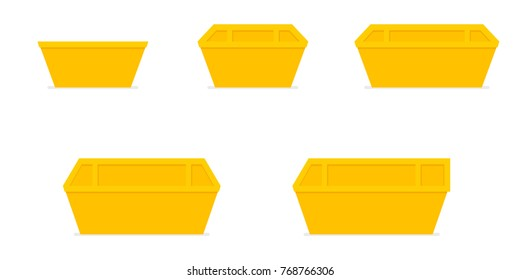 Yellow waste skip bin. Icon set. Vector image isolated on white background