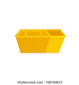 Yellow waste skip bin. Vector illustration isolated on white background