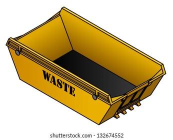 A yellow waste skip/bin.