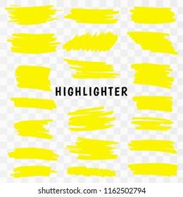 Yellow watercolor hand drawn highlight set Yellow Highlighter Marker Strokes. Vector brush pen underline lines. Vector illustration EPS10