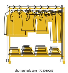 yellow watercolor silhouette of clothes rack with t-shirts and pants on hangers and fold clothes on bottom vector illustration