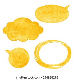 Yellow watercolor vector speech bubbles, cloud and oval brush stroke frame with rough, artistic edges