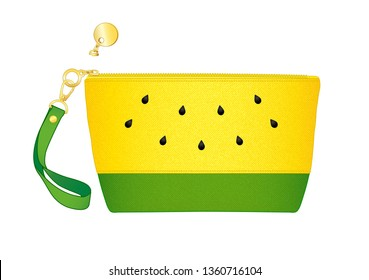 yellow watermelon purse/ cosmetic bag, daily zip pouch with detachable wrist strap, vector illustration sketch template