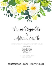 Yellow wedding botanical vector flower design invitation. Vertical frame or card. Daffodil, wild rose, white and green hydrangea, eucalyptus and wildflowers. All elements are isolated and editable