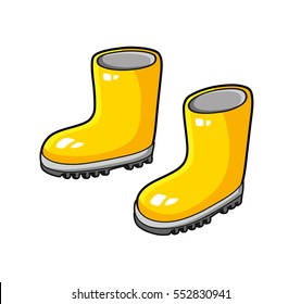 Yellow wellies gum boots isolated.