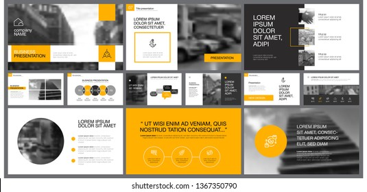 Yellow, white and black infographic design elements for presentation slide templates. Business and accounting concept can be used for corporate report, advertising, brochure layout and banner design.