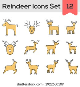 Yellow And White Color Set of Reindeer Icon In Flat Style.