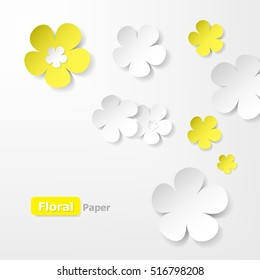 Yellow and white floral paper background.