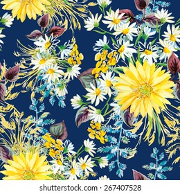 Yellow and white flowers with violet leaves and floral elements on the dark blue background. Watercolor seamless pattern with summer flowers. Gerbera and daisies.