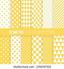 Yellow and White Geometric Vector Patterns. Sunny Pastel Color Herringbone, Harlequin, Triangles, Chevron, Dots, Checks, Stars & Stripes Print Backgrounds. Pattern Tile Swatches included.