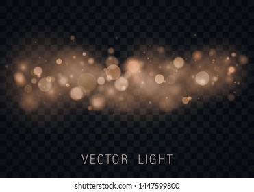 \t\nYellow White Gold Light abstract glowing bokeh lights effect isolated on transparent background. Festive purple and golden luminous background. Christmas concept. Blurred light frame. Vector