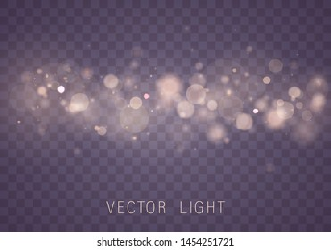 \t\nYellow White Gold Light abstract glowing bokeh lights effect isolated on transparent background. Festive purple and golden luminous background. Christmas concept. Blurred light  Vector