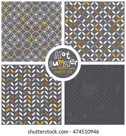yellow white gray leaves and circles geometrical colorful retro seamless pattern set on dark gray background