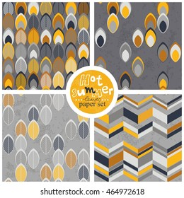 yellow white gray leaves geometrical colorful retro seamless pattern set on light and dark gray background