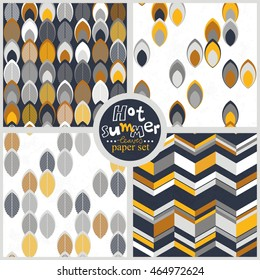 yellow white gray leaves geometrical colorful retro seamless pattern set on white and dark gray background