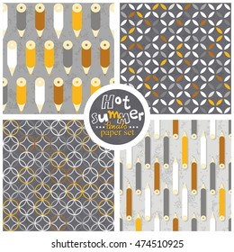 yellow white gray pencils leaves and circles geometrical colorful retro seamless pattern set on light and dark gray background