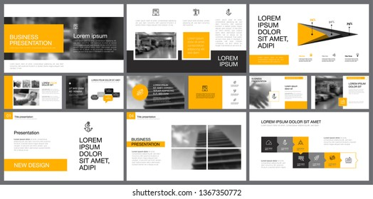 Yellow, white and grey infographic design elements for presentation slide templates. Business and management concept can be used for corporate report, advertising, brochure layout and banner design.