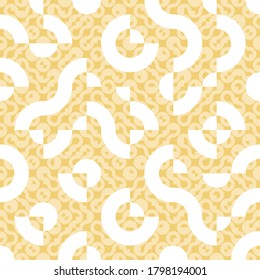 Yellow and white seamless Truchet vector repeat design. Geometric pattern for wallpapers, web page backgrounds, surface textures, fashion fabric, carpet design, curtains and home décor.