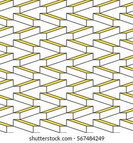 Yellow and white shapes seamless pattern. Vintage 80s style design. Clipping mask used.