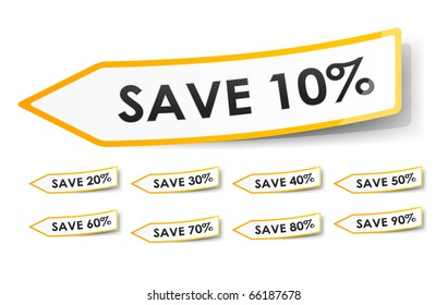 yellow and white shiny vector discount sticker tags with the caption save 10, 20, 30, 40, 50, 60, 70, 80 and 90%